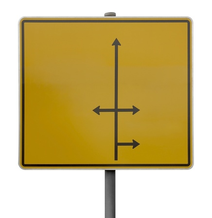 symbolization: yellow blank direction signpost with black arrows isolated on white