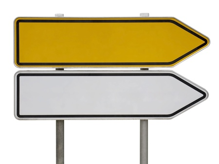 blank road sign: a yellow and a white blank direction sign post isolated on white Stock Photo