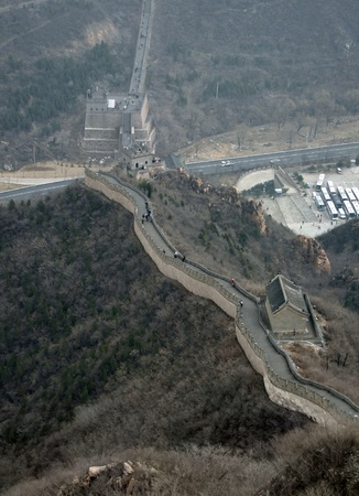 badaling: the Great Wall of China near Badaling in misty ambiance Editorial