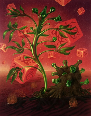 allegory painting: picture painted by me, named Appointment, it shows a surreal red colored ambiance with falling dice decorated with mystic signs in the back. In the foreground are two surreal translucent green plants interacting in strange wet and desert scenery