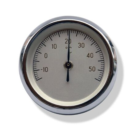 studio photography of a round metallic thermometer isolated on white, with clipping path photo