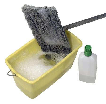 moistness: studio photography of a cleaning mop and equipment in white back Stock Photo