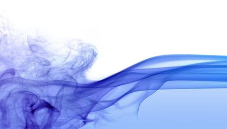 abstract picture showing some blue colored smoke in white background photo