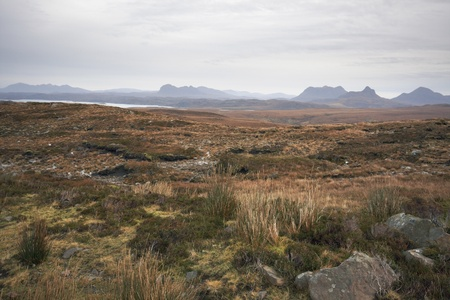peaty: deserted panoramic scenery in Scotland