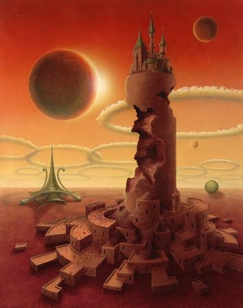 """paradigma: un paisaje surrealista pintado por m�. Se llama """"paradigma"""" y que muestra una antigua edificios futuristas en la puesta del sol m�stico Foto de archivo"""