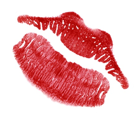 kissing mouth: red lip-print in white back