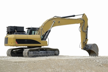 outdoor shot of a yellow resting digger in fade out background