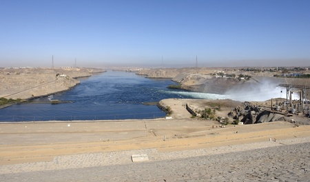 scenery around the Aswan Dam with hydroelectric power plant in Aswan (Egypt) photo