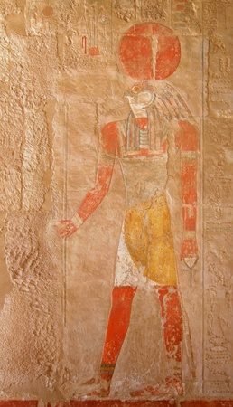 colored stone relief at Deir el-Bahri in Egypt photo