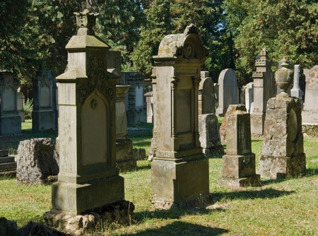 detail of a jewish graveyard with lots of gravestones in Freiburg (Southern Germany) Stock Photo - 11672818