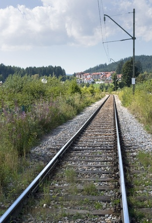 forest railroad: railroad track in the Black Forest (Southern Germany) at summer time