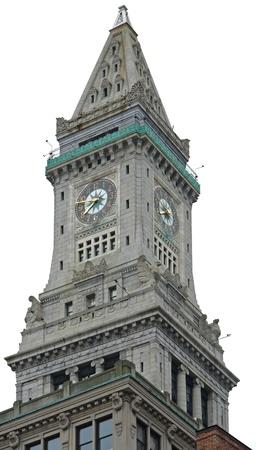 clock tower of the Custom House in Boston (Massachusetts, USA) in white back