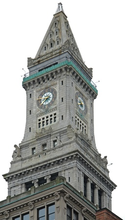 clock tower of the Custom House in Boston (Massachusetts, USA) in white back
