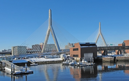 anchoring: some boats anchoring in Boston (Massachusetts, USA) at winter time