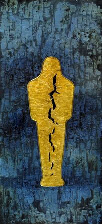 cleft: picture painted by me, named Mummy, it shows a abstract golden mummy with big cleft inside, located in a structured blue back