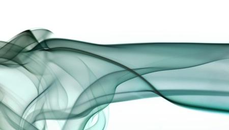 zero gravity: quadro astratto che mostra po 'di fumo verde nel dorso bianco Archivio Fotografico