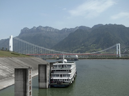 scenery along the Yangtze River in China with ferry and bridge Stock Photo - 11964927