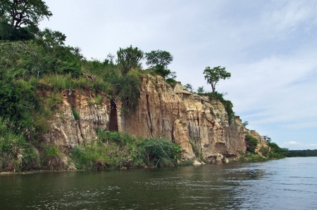 waterside scenery showing the Victoria Nile with a big overgrown rock formation in Uganda (Africa) Stock Photo - 11964983