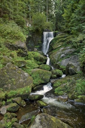 tourist feature: scenery showing the Triberg Waterfalls in the Black Forest in Southern Germany at summer time