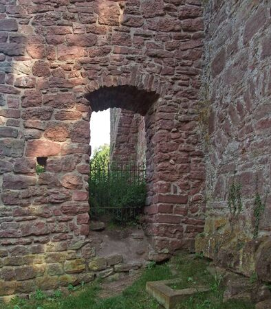 wertheim: detail of Wertheim Castle in Southern Germany with opening and stone walls