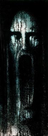 """Bild von mir gemalt mit dem Namen """"IX im Hinterkopf"""", es ist ein Alptraum beängstigend Landschaft eines schreienden Gesicht mit extrem geöffneten Mund zeigt. Standard-Bild - 12069222"""
