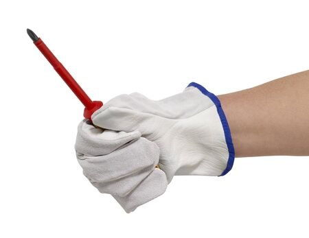 hand gloved with a light grey working glove while holding a screwdriver.Studio shot in white back Stock Photo - 11965054