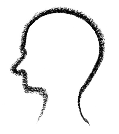 crayon-sketched head silhouette done by me Stock Photo - 11755605