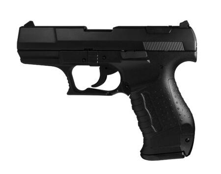 sideways studio photography of a black pistol in white back photo