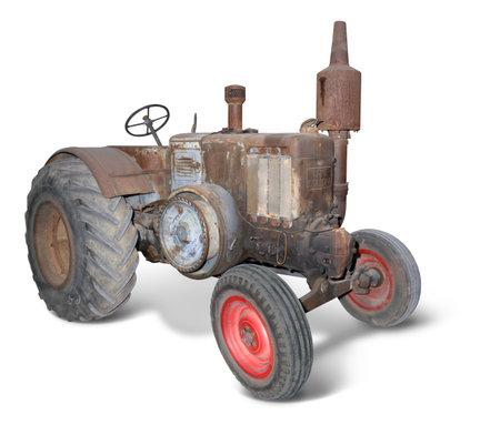 nostalgic rusty tractor isolated on white