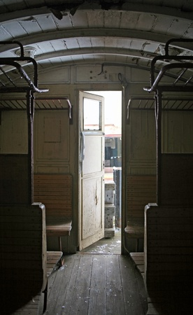 indoor shot of a historic railway car in Southern Germany