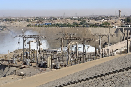 the Aswan Dam with hydroelectric power plant in Aswan (Egypt) Stock Photo - 11013545