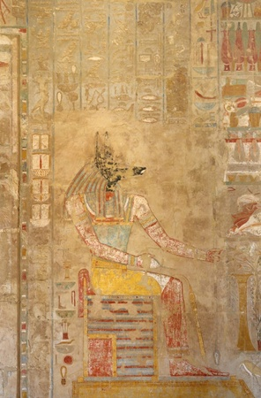 ancient painting inside the Mortuary Temple of Hatshepsut in Egypt photo