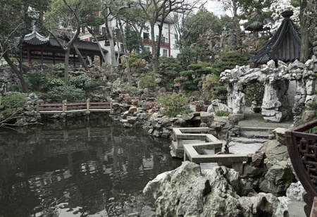 detail of the historic Yuyuan Garden in Shanghai (China).The garden was created in the year 1559 by Pan Yundan