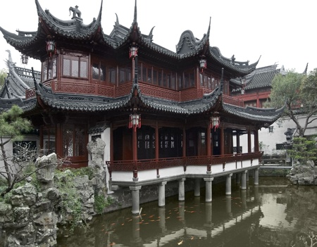tourist feature: detail of the historic Yuyuan Garden in Shanghai (China).The garden was created in the year 1559 by Pan Yunduan Editorial