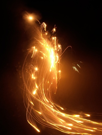 abstract scenery of some vivid pyrotechnics at night