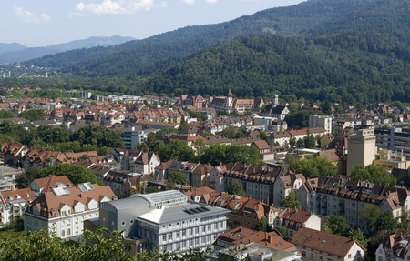 sunny aerial view of Freiburg im Breisgau, a city in Southern Germany at summer time Stock Photo - 11014669