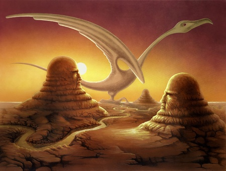 Strange  surreal scene painted by myself. Itu00b4s named Points of view and it shows big stone sculptures in a deserted landscapein a warm sundown photo