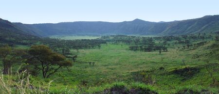 veldt: panoramic view of the Chambura Gorge in Uganda (Africa) Stock Photo