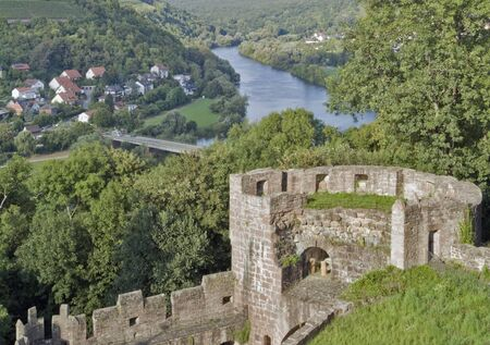 wertheim: scenery around Wertheim Castle in Southern Germany with castle remains and river Main at summer time