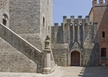 crenellated: architectural detail at Castle of Brolio near Gaiole in Chianti, located in the italian region Tuscany