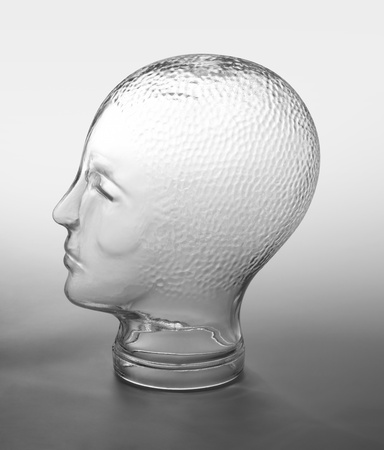 profile shot of a generic human &quot,dummy&quot, head made of glass in gradient  grey back Stock Photo - 11039273