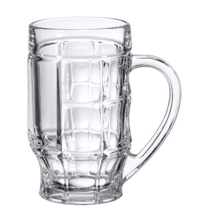 bibelot: studio photography of a empty beer mug made of glass in white back