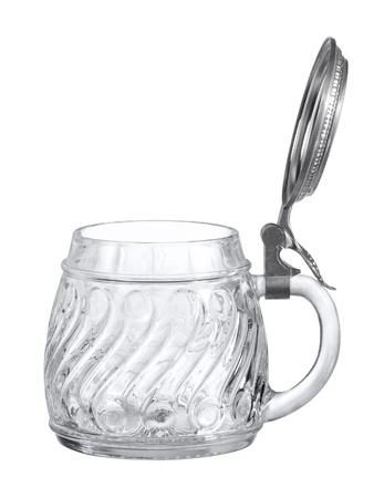 stoneware: studio photography of a beer mug made of glass with opened metallic cap in white back Stock Photo
