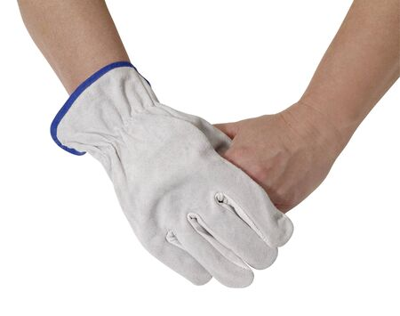two hands holding each other, one gloved with a light grey working glove.Studio shot in white back Stock Photo - 11014355