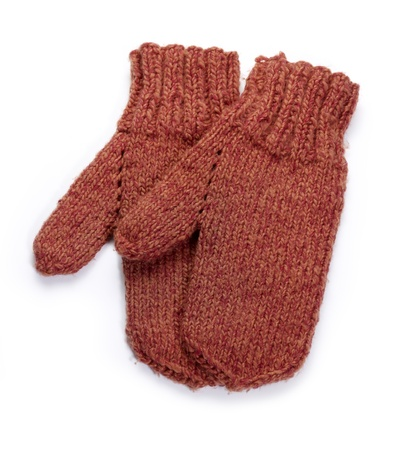 a pair of red knitted woolen gloves in white back with shadow photo