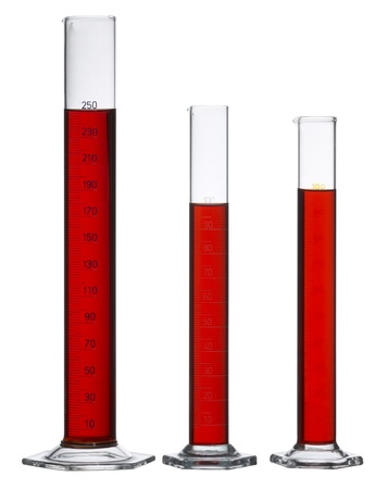 3 measuring cylinders made of glass, filled with red fluid in white back photo