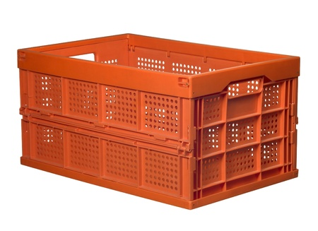 reachability: studio photography of a orange folding box isolated on white Stock Photo