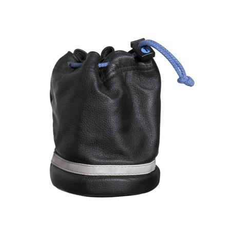 leren tas: studiofotografie van een opstaande zwart lederen tas geà ¯ soleerd op wit, met het knippen van weg