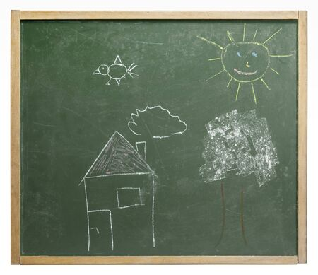 home schooling: old used blackboard with naive crayon painted picture on it. Studio photography in white back