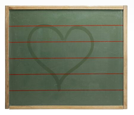 moistness: old used blackboard with red lines and wet-painted heart shape on it. Studio photography in white back